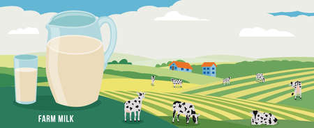 Milk jug and glass background of green summer fields with cows, flat vector illustration. Dairy production and milk farm concept with grazing cows in the meadow. Ilustração