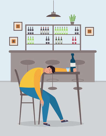 Drunk man cartoon character asleep in the bar, flat vector illustration. Alcohol addiction and drunkenness problem concept of banner with alcoholic after party. Illustration