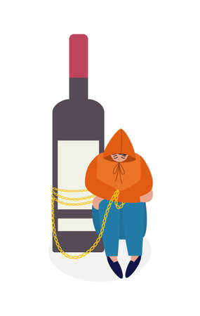 Concept of alcohol addiction. Drunk person chained to a bottle of wine sitting on floor in depressed. Flat cartoon isolated vector illustration.