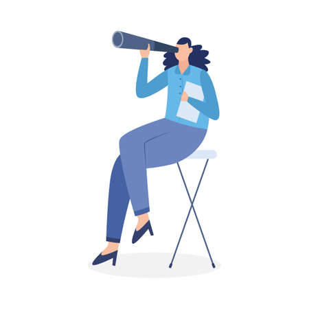 Woman sit on chair and look in spyglass for planning successful career, searching perspectives in business, recruitment professional employees. Flat isolated vector illustration.