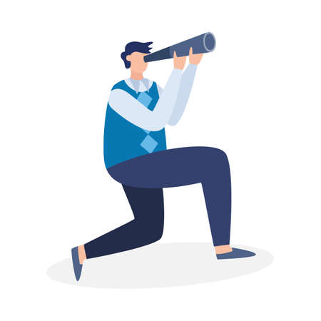Businessman look in spyglass for planning successful career, searching perspectives and opportunity in business, recruitment professional employees. Flat vector illustration.