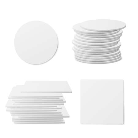 Round and square table coasters piles and single objects, realistic vector illustration isolated on white background. Templates set of white blank beer coasters.