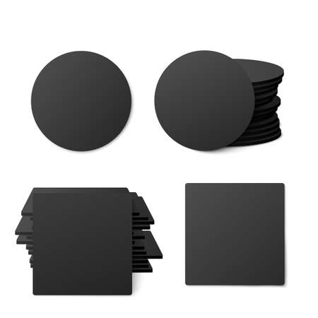 Black blank round and square table coasters mockups, realistic vector illustration isolated on white background. Templates of beer coasters in stacks and single objects.