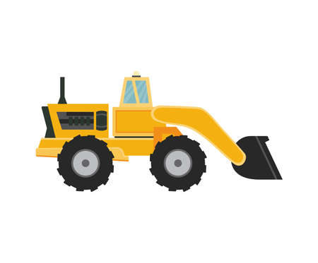 Snow plow. Removal equipment for cleaning snowy road in winter season snowfall. Special heavy industrial and municipal vehicles. Flat cartoon vector isolated illustration