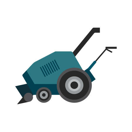 Blue snow blower or thrower. Snow plow transport for removal cleaning city street or driveway house after snowfall in winter season. Flat cartoon vector isolated illustration.