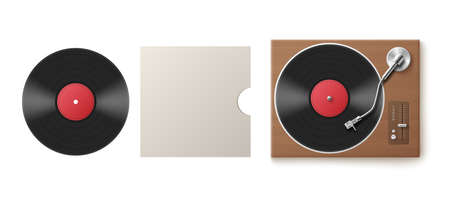 Template of black vinyl disk, music album paper cover and turntable, realistic vector illustration isolated on white background. Mockup of sound recording vinyl.