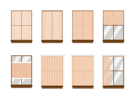 Window set with various fastening types of blinds or jalousie, flat vector illustration isolated on white background. Collection of bamboo or plastic blind or shutter. Vetores