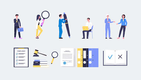 Regulatory compliance icons. Characters people create, read or discussing of lists laws, rules, policy and regulations. Flat vector illustrations.