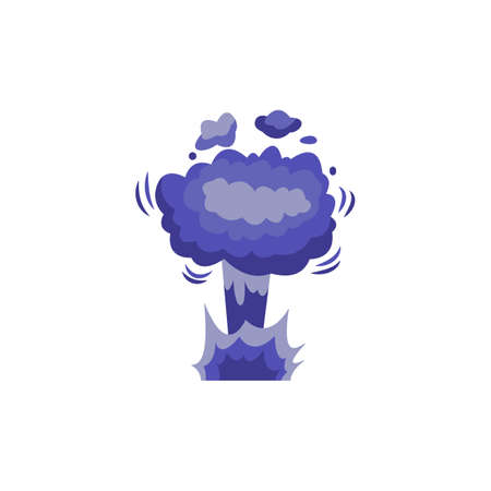 Bomb explosion with blowing up bright purple clouds of smoke. Explosive burst boom effect, cartoon flat vector illustration isolated on white background.