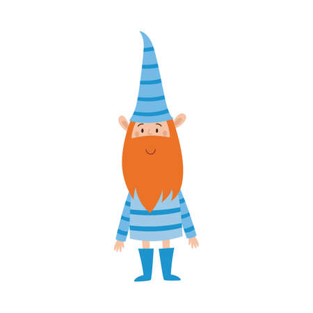 Cute holiday gnome in blue striped clothes. Happy ginger elf or fairy tale character with beard and pointy hat smiling isolated on white background, vector illustration.