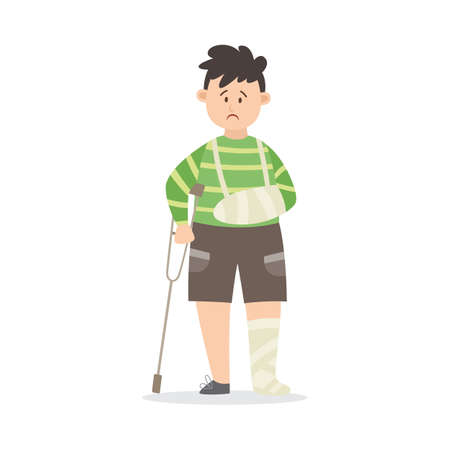 Boy after serious injury with broken limbs in gypsum, flat vector illustration isolated on white background. Wounded injured kid cartoon character standing with crutch. 向量圖像