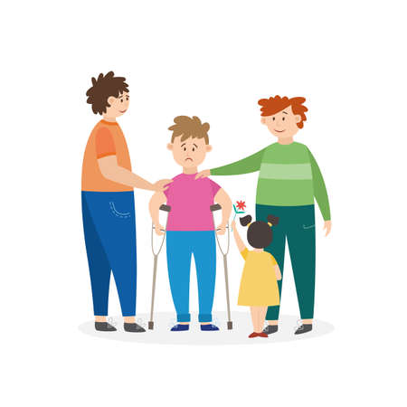 Cartoon kid with leg injury and friend group supporting him. Children standing around little boy standing in crutches, isolated vector illustration on white background.