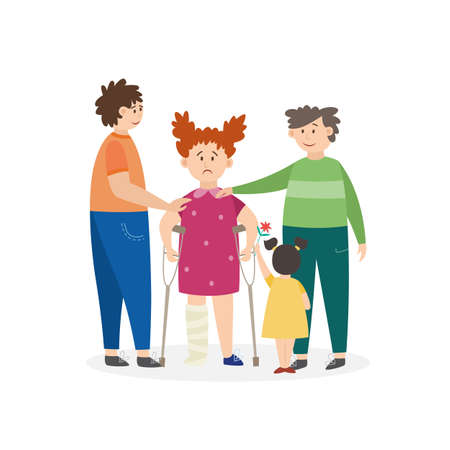 Children comfort an injured girl on crutches, flat vector illustration isolated on white background. Injured wounded little girl cartoon character who has limbs trauma.