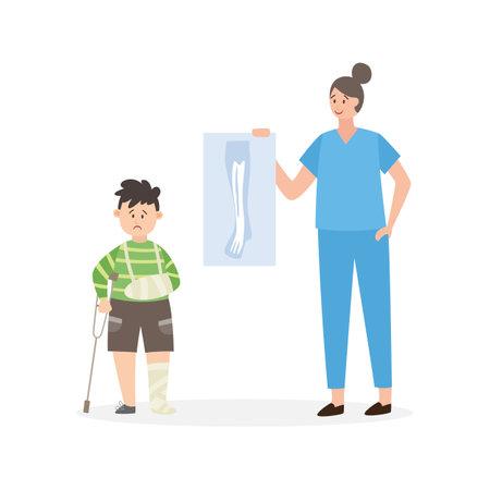 Injured child at a traumomatologist appointment, flat vector illustration isolated on white background. Boy with trauma visits hospital traumatology dep.