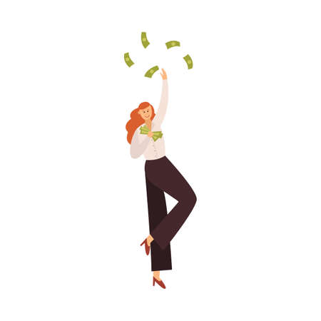 Concept of financial success achievement or winning money prize the happy business woman holding banknotes, flat vector illustration isolated on white background. Vettoriali