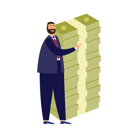 Rich businessman with huge stack banknotes. Happy millionaire with money management and investment in business increased financial wealth. Flat vector isolated illustration Ilustracja
