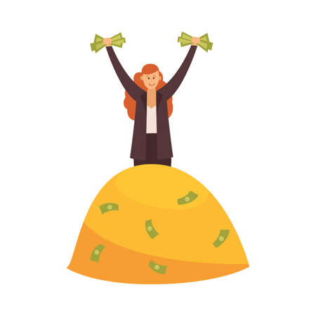 Rich woman on pile of money - wealthy cartoon businesswoman standing on mountain of gold coins and dollar bills. Isolated vector illustration of female financial success