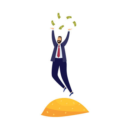 Financially successful rich businessman stand on pile gold, throwing banknotes dollars. Millionaire with money management and investment in business saved, increased wealth. Vector