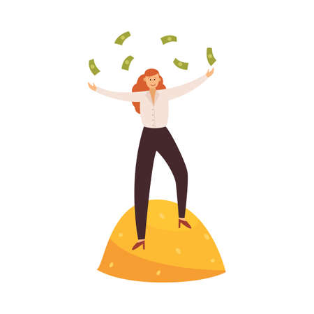 Business woman standing on pile of gold coins with money in hands. Financial success or winning money metaphor, flat vector illustration isolated on white background. Ilustracja