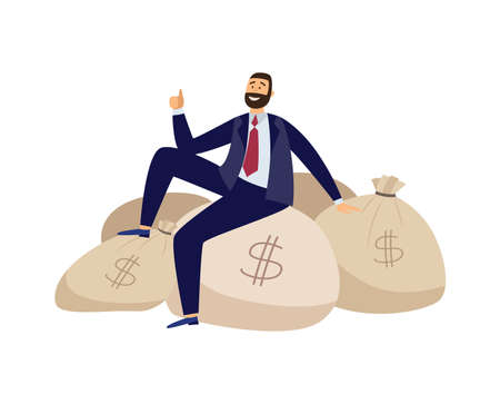 Rich businessman is sitting on bags full of money. Financially successful cheerful man in business suit with lot of dollars. Flat vector illustration isolated on a white background