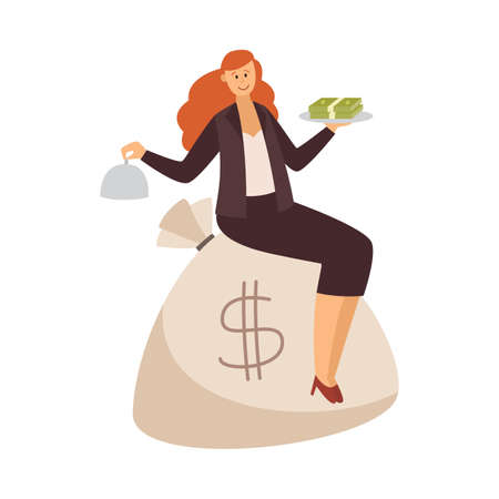 Rich prosperous business woman sitting on sack full of money, flat vector illustration isolated on white background. Lucky woman millionaire cartoon character.