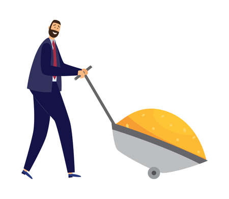 Business metaphor of a very rich and wealthy successful businessman pushing a garden cart with gold coins, flat vector illustration isolated on white background. Ilustracja