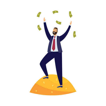 Rich businessman stand on pile gold, throwing banknotes. Millionaire with money management investment in business and received increased wealth. Flat vector isolated illustration Ilustracja