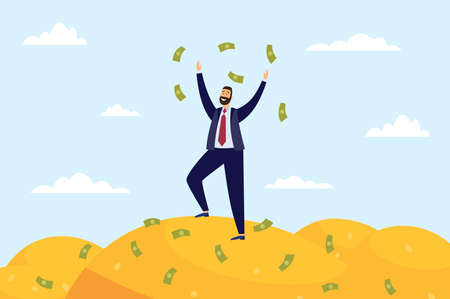 Cheerful rich businessman standing on top of money pile, flat vector illustration. Business man reached wellness and successful financial achievements.