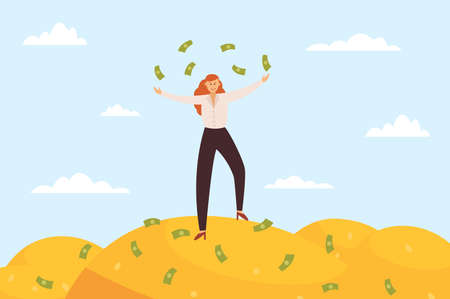 Happy super rich successful business woman standing on huge pile of banknotes, flat vector illustration. Business metaphor of success and wealth, richness and fortune.