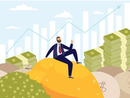 Successful businessman sitting on top of money hills at backdrop of rising diagram, flat vector illustration. Wealth and financial success business metaphor