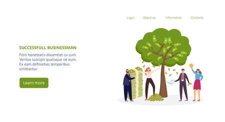 Successful business people standing around the money tree, flat vector illustration. Design for website or landing page with rich successful business men and women.
