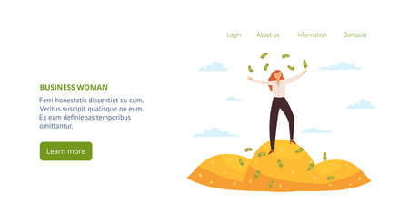 Website interface design with business woman standing on a pile of coins, flat vector illustration. Successful rich woman entrepreneur or business lady among money.