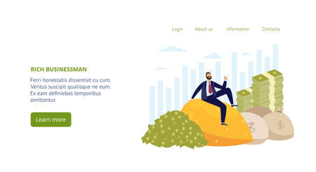 Landing page template with financially successful rich businessman. Millionaire sitting on gold pile, near with bags full of dollars and stacks of banknotes. Vector illustration.