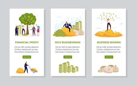 Rich businessman and woman - vertical banner set with cartoon people and piles of money in gold coins and green dollar bills. Financial success vector illustration.
