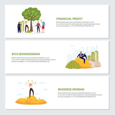 Set of horizontal banners on topic of financial profit and business success with cartoon characters of rich successful business people, flat vector illustration.