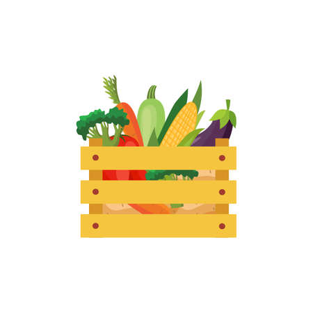 Wooden box with fresh vegetables and fruits in a flat style vector illustration isolated on white background. Harvest of organic natural foods in wood case.