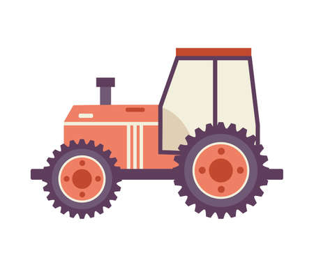 Flat cartoon tractor isolated on white background. Agriculture farm vehicle icon from side view, vector illustration of industrial transport.