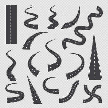 A set of isolated icons winding and crossroads highways and roads with white markings. Curve asphalt roadway for drive, direction of way for trip and travel. Vector illustrations