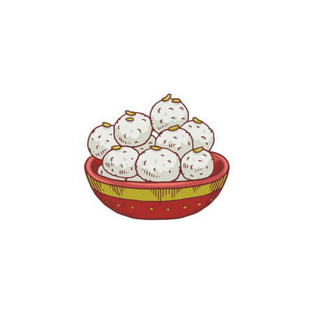 Laddu bowl - sweet Indian traditional dessert food for religious holidays. White laddoo ball dish from Hindu culture, isolated vector illustration.