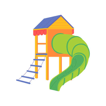 Colorful slide tube with ladder and roof for fun kids games on playground. Childrens outdoor entertainment in kindergarten, park, yard of school, home. Vector isolated illustration Ilustracja