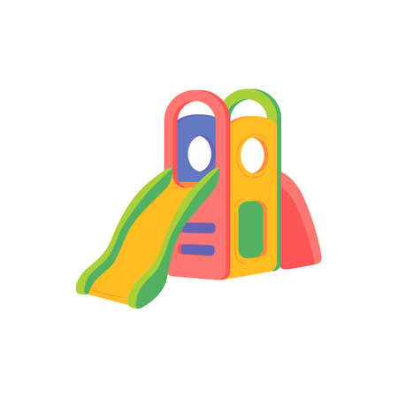 Colorful kids slide for play on playground. Outdoor entertainment in kindergarten, park, yard of school or home. Equipment for children fun activity. Vector isolated illustration