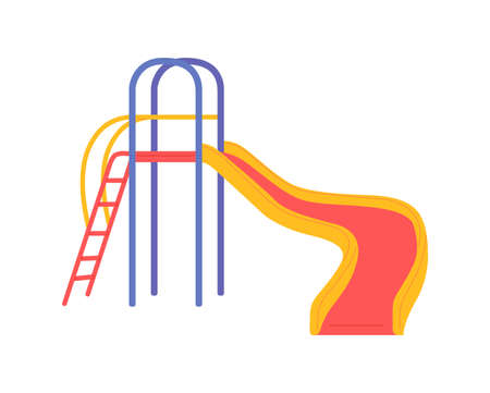 Colorful kids slide with ladder for fun games on playground. Equipment for childrens outdoor entertainment in kindergarten, park, yard of school or home. Vector illustration. Ilustracja
