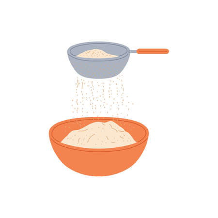 Flying sieve sifting flour into cooking bowl - food baking ingredient preparation stage with kitchen utensils. Isolated vector illustration of floating sift on white background.