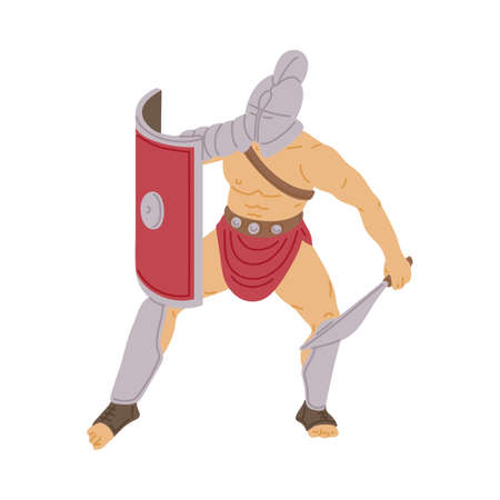 Roman gladiator warrior in fighting armor holding sword and shield. Armed cartoon man from Ancient Rome during war combat or fight, isolated vector illustration