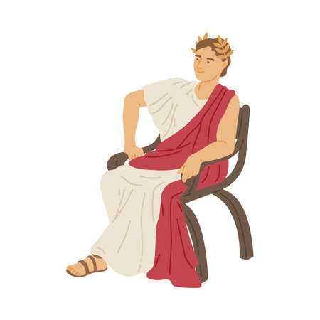 Antique emperor of ancient roman patrician in toga sitting, flat vector illustration isolated on white background. Ancient caesar in laurel wreath cartoon character.