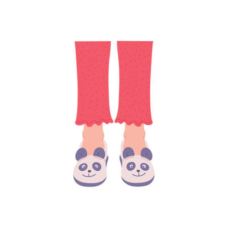 Female legs in funny cozy slippers with pandas face, flat vector illustration isolated on a white background. Sign of warm soft indoor slippers shoes on womens legs. Vector Illustration