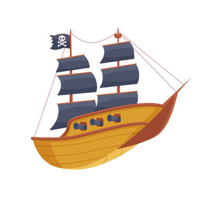 Pirate wooden sailing boat. Ship with cannons, skull and crossbones on flag and sails black color. Flat cartoon vector illustration isolated on a white background.