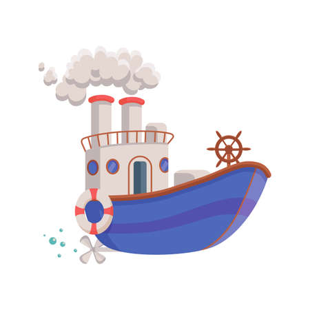 Cartoon funny blue ship. Kids colorful toy, boat for travel on sea or ocean. Flat vector illustration isolated on a white background.