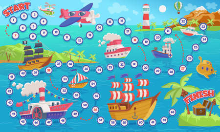 Kids maze game design with various ships, flat vector cartoon illustration. Sea travel theme children puzzle labyrinth game with toy boats and marine ships. Vetores