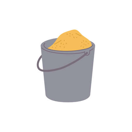 Bucket full of sand or yellowish grit, flat vector illustration isolated on white background. Symbol of building material for construction works and cement production.